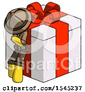 Yellow Explorer Ranger Man Leaning On Gift With Red Bow Angle View