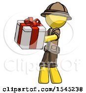 Yellow Explorer Ranger Man Presenting A Present With Large Red Bow On It