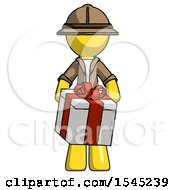 Yellow Explorer Ranger Man Gifting Present With Large Bow Front View