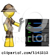 Yellow Explorer Ranger Man Server Administrator Doing Repairs