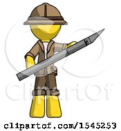 Yellow Explorer Ranger Man Holding Large Scalpel