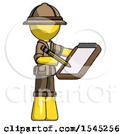 Yellow Explorer Ranger Man Using Clipboard And Pencil