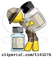 Yellow Explorer Ranger Man Holding Large White Medicine Bottle With Bottle In Background