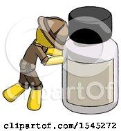 Yellow Explorer Ranger Man Pushing Large Medicine Bottle