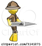 Yellow Explorer Ranger Man Walking With Large Thermometer