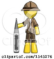 Yellow Explorer Ranger Man Standing With Large Thermometer