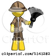 Yellow Explorer Ranger Man Holding Feather Duster Facing Forward
