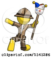 Yellow Explorer Ranger Man Holding Jester Staff Posing Charismatically