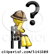 Yellow Explorer Ranger Man Question Mark Concept Sitting On Chair Thinking