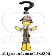 Yellow Explorer Ranger Man With Question Mark Above Head Confused