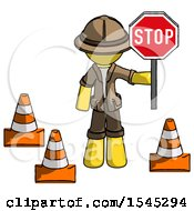 Yellow Explorer Ranger Man Holding Stop Sign By Traffic Cones Under Construction Concept