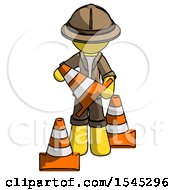 Yellow Explorer Ranger Man Holding A Traffic Cone