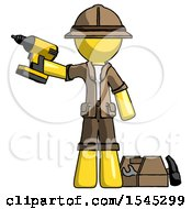 Yellow Explorer Ranger Man Holding Drill Ready To Work Toolchest And Tools To Right