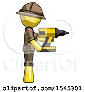 Yellow Explorer Ranger Man Using Drill Drilling Something On Right Side