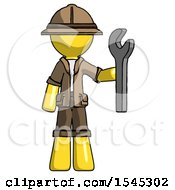 Yellow Explorer Ranger Man Holding Wrench Ready To Repair Or Work