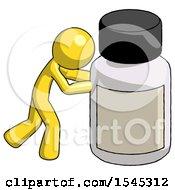 Yellow Design Mascot Man Pushing Large Medicine Bottle
