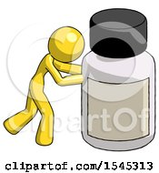 Yellow Design Mascot Woman Pushing Large Medicine Bottle
