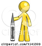 Yellow Design Mascot Man Standing With Large Thermometer