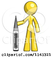 Yellow Design Mascot Woman Standing With Large Thermometer