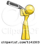 Yellow Design Mascot Woman Thermometer In Mouth