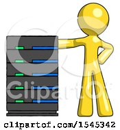 Yellow Design Mascot Man With Server Rack Leaning Confidently Against It