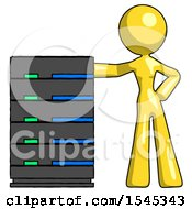 Yellow Design Mascot Woman With Server Rack Leaning Confidently Against It