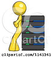 Yellow Design Mascot Woman Resting Against Server Rack