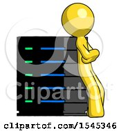 Yellow Design Mascot Man Resting Against Server Rack Viewed At Angle