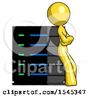Yellow Design Mascot Woman Resting Against Server Rack Viewed At Angle