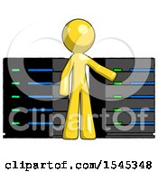 Yellow Design Mascot Man With Server Racks In Front Of Two Networked Systems