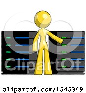 Yellow Design Mascot Woman With Server Racks In Front Of Two Networked Systems