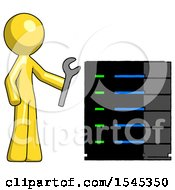 Yellow Design Mascot Man Server Administrator Doing Repairs