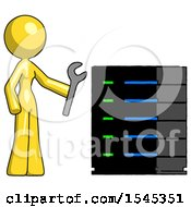 Yellow Design Mascot Woman Server Administrator Doing Repairs