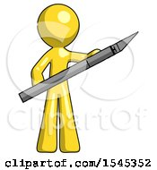 Yellow Design Mascot Man Holding Large Scalpel