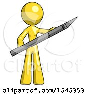 Yellow Design Mascot Woman Holding Large Scalpel