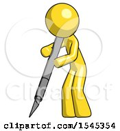Yellow Design Mascot Man Cutting With Large Scalpel