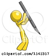 Yellow Design Mascot Woman Stabbing Or Cutting With Scalpel