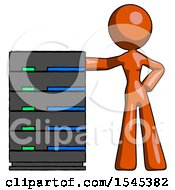 Orange Design Mascot Woman With Server Rack Leaning Confidently Against It