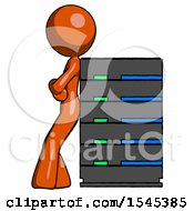 Orange Design Mascot Woman Resting Against Server Rack