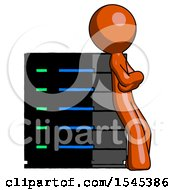 Orange Design Mascot Man Resting Against Server Rack Viewed At Angle