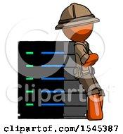Orange Explorer Ranger Man Resting Against Server Rack Viewed At Angle