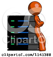 Orange Design Mascot Woman Resting Against Server Rack Viewed At Angle