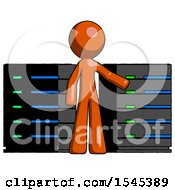 Orange Design Mascot Man With Server Racks In Front Of Two Networked Systems