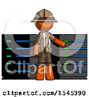 Orange Explorer Ranger Man With Server Racks In Front Of Two Networked Systems