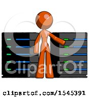 Orange Design Mascot Woman With Server Racks In Front Of Two Networked Systems
