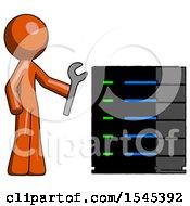 Orange Design Mascot Man Server Administrator Doing Repairs