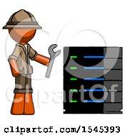 Orange Explorer Ranger Man Server Administrator Doing Repairs
