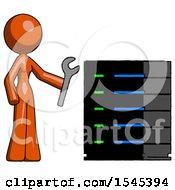 Orange Design Mascot Woman Server Administrator Doing Repairs