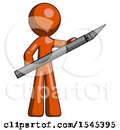 Orange Design Mascot Man Holding Large Scalpel