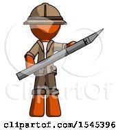 Orange Explorer Ranger Man Holding Large Scalpel